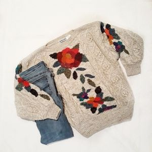 Vintage Floral Bobble Knit Wool Blend Sweater NWT